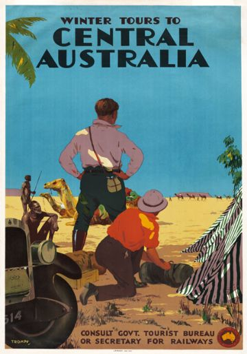Winter Tours to Central Australia. Vintage Travel Poster by Percy Trompf